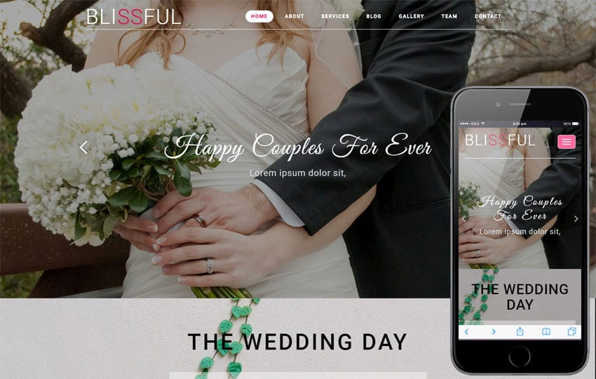 Blissful Wedding Category Bootstrap Responsive Web Template Mobile website template Free