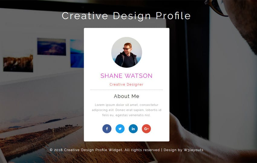 Creative Design Profile Flat Responsive Widget Template Mobile website template Free