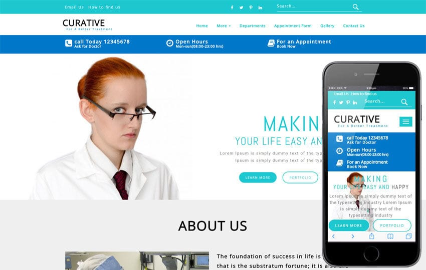 Curative Medical Category Bootstrap Responsive Web Template Mobile website template Free