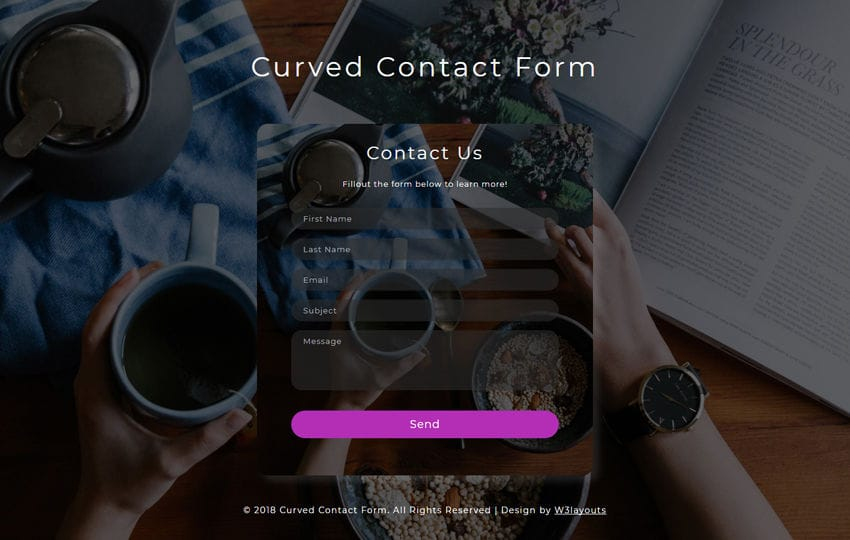 Curved Contact Form Flat Responsive Widget Template Mobile website template Free