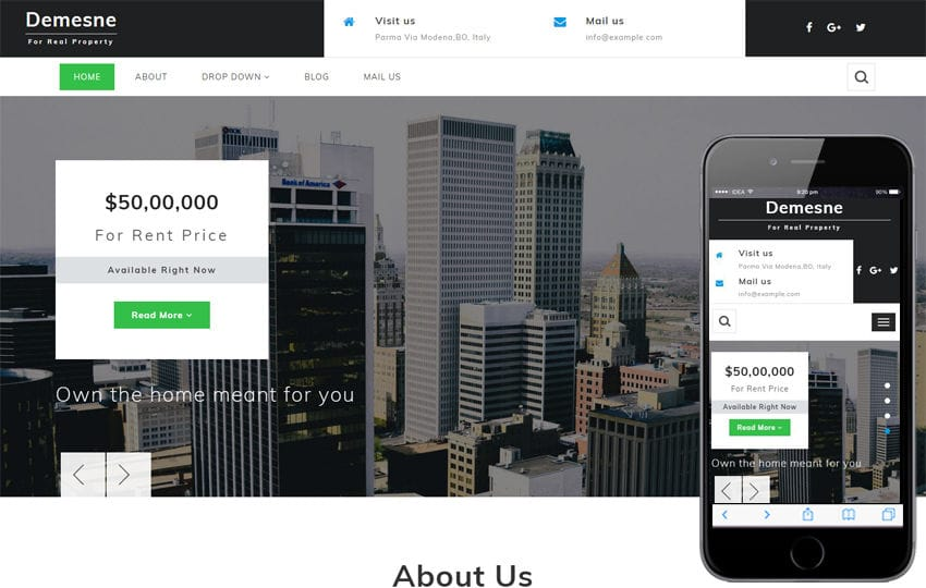 Demesne Real Estate Category Bootstrap Responsive Web Template Mobile website template Free