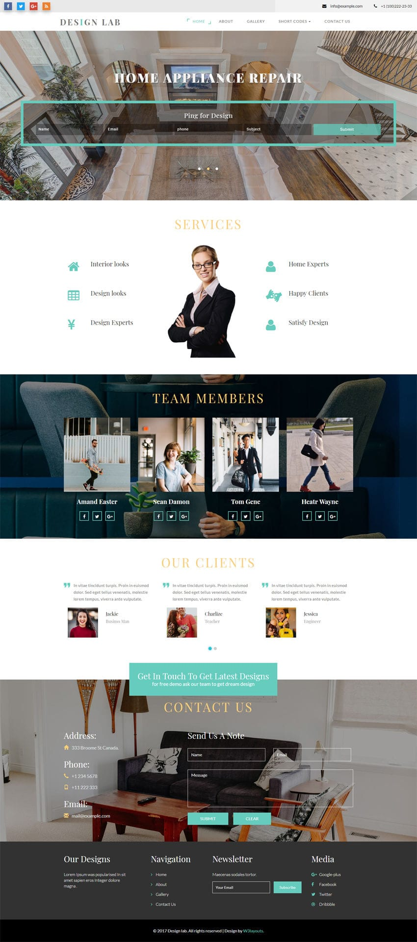Design lab interior category bootstrap responsive web template for Interior design responsive website templates edge free download