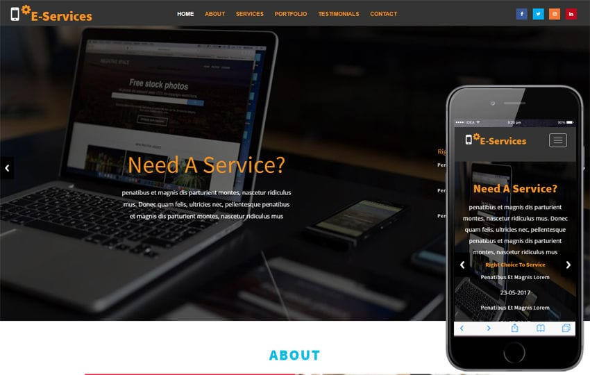 E Services Business Category Bootstrap Responsive Web Template Mobile website template Free