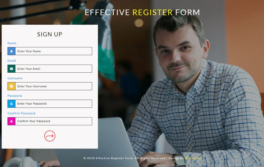 Effective Register Form Flat Responsive Widget Template