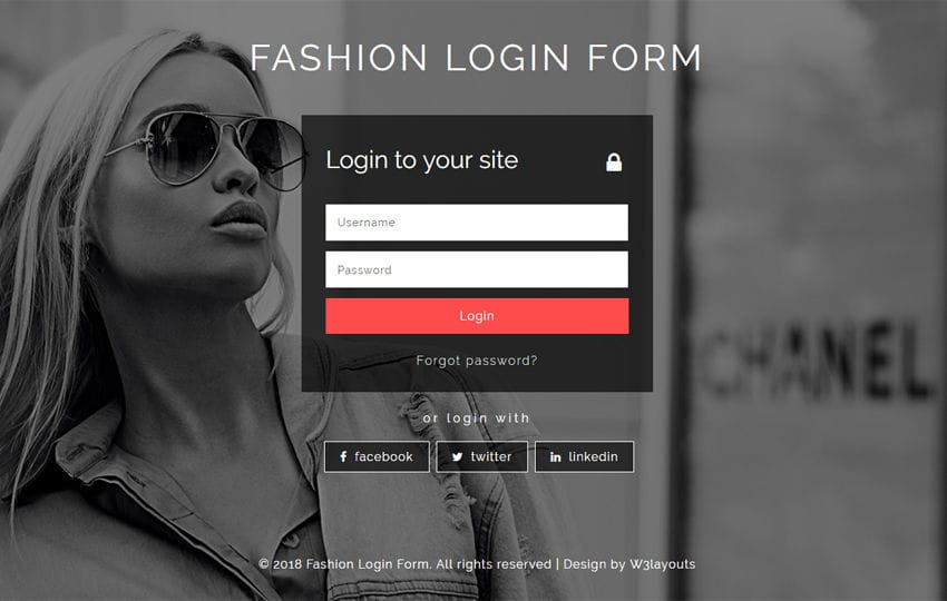 Fashion Login Form Flat Responsive Widget Template Mobile website template Free
