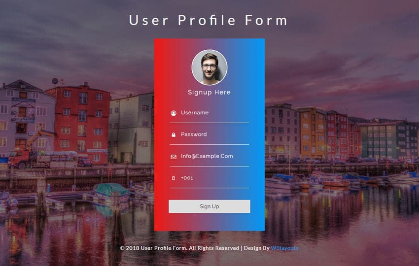 User Profile Form Responsive Widget Template Mobile website template Free