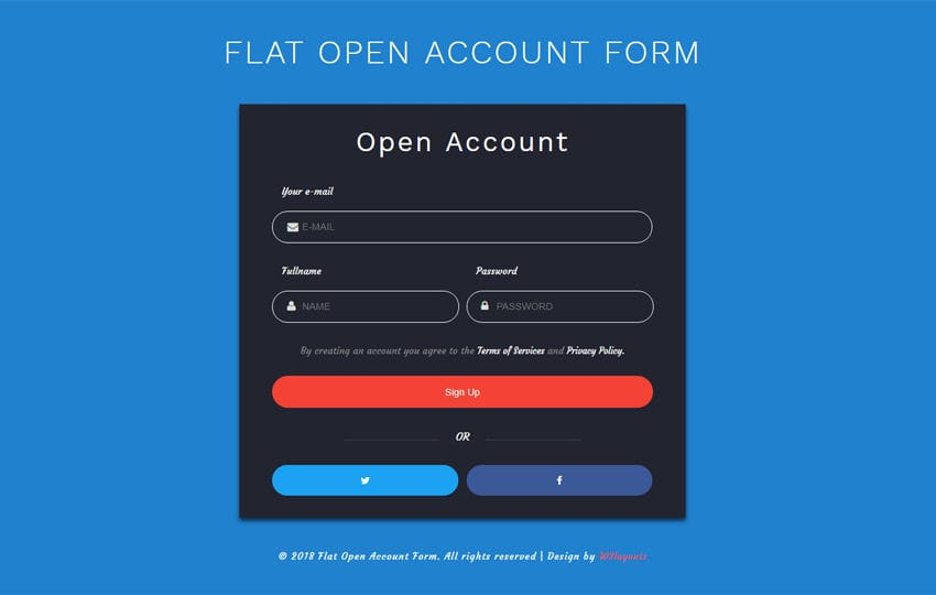 Flat Open Account Form Responsive Widget Template Mobile website template Free