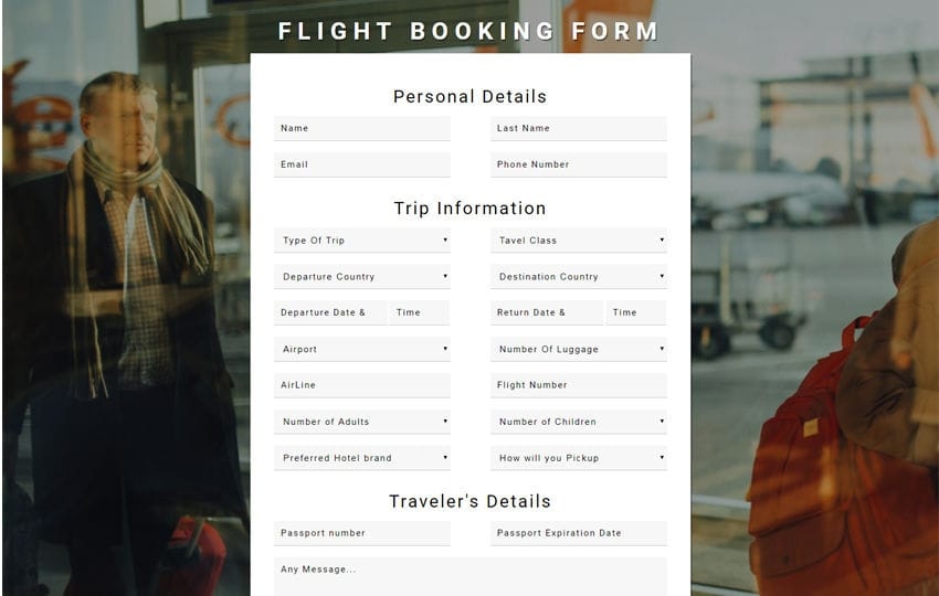 Flight Booking Form Flat Responsive Widget Template Mobile website template Free