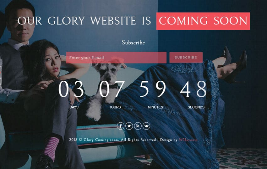 Glory Coming Soon Flat Responsive Widget Template Mobile website template Free