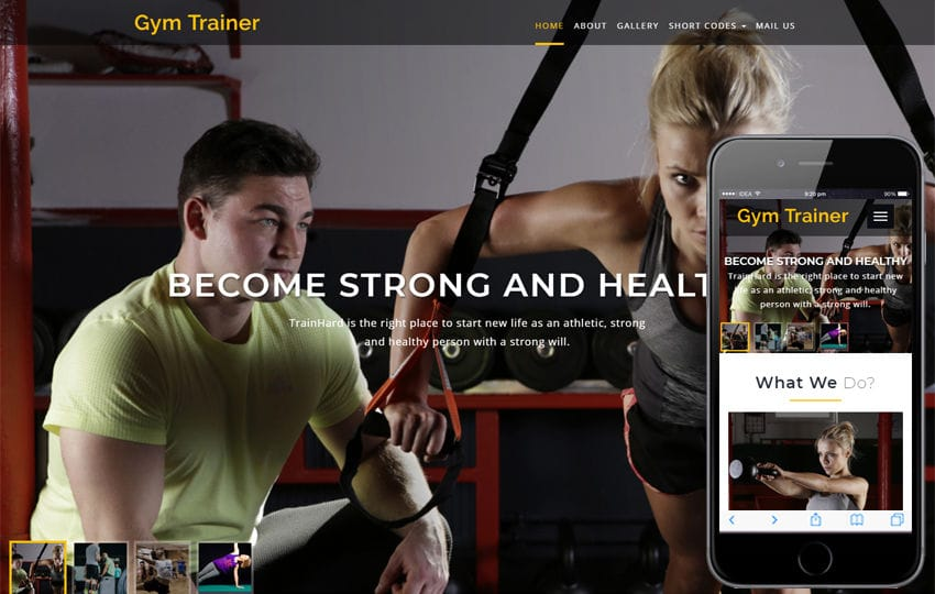 Gym Trainer a Sports Category Bootstrap Responsive Web Template Mobile website template Free