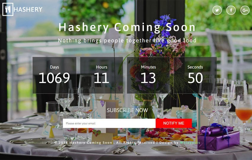 Hashery Coming Soon Responsive Widget Template Mobile website template Free
