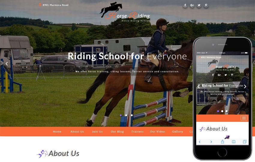 Horse Riding Sports Category Bootstrap Responsive Web Template Mobile website template Free