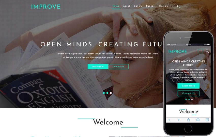 Improve Education Category Bootstrap Responsive Web Template Mobile website template Free