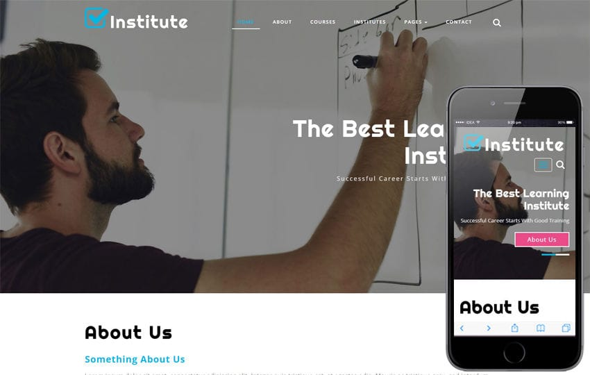 Institute Education Category Bootstrap Responsive Web Template Mobile website template Free