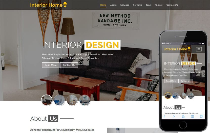 Interior Home Interior Category Bootstrap Responsive Web Template Mobile website template Free