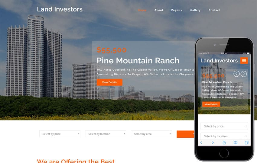 Land Investors Real Estates Category Bootstrap Responsive Web Template Mobile website template Free
