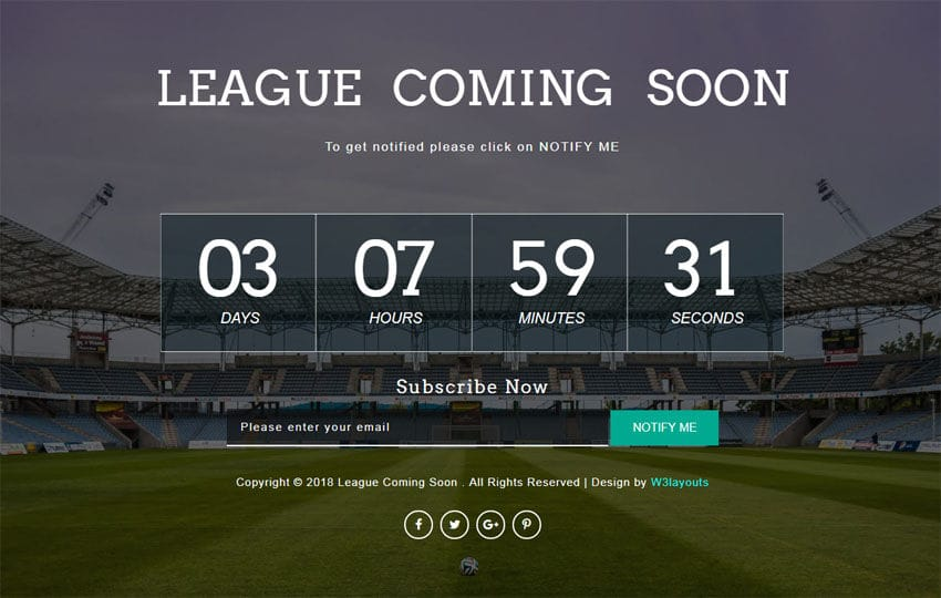 League Coming Soon Responsive Widget Template Mobile website template Free