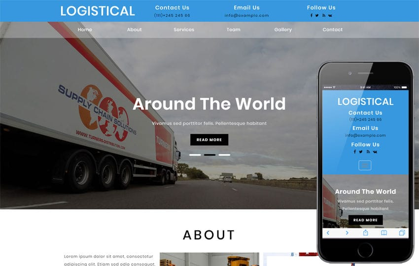 Logistical Transportation Category Bootstrap Responsive Web Template Mobile website template Free