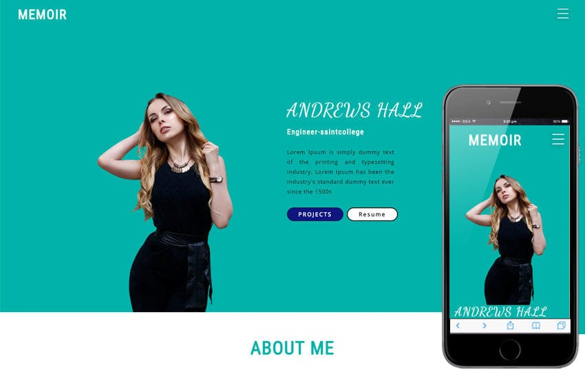 Memoir personal Category Bootstrap Responsive Web Template Mobile website template Free