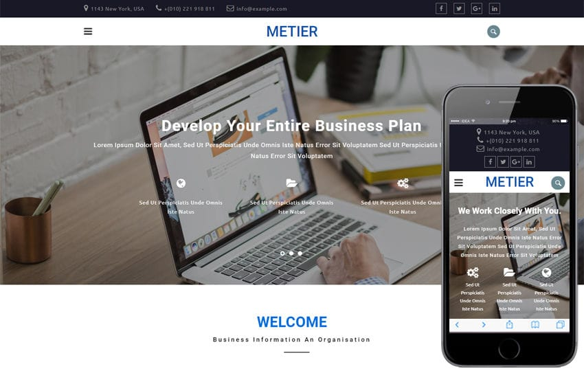 Metier Corporate Category Bootstrap Responsive Web Template Mobile website template Free