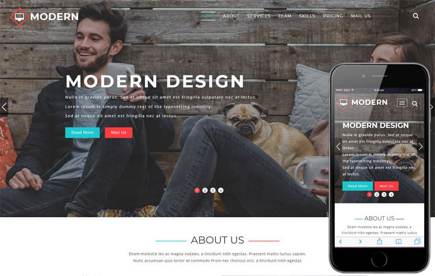 Modern Corporate Category Bootstrap Responsive Web Template Mobile website template Free