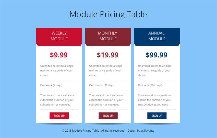 Module Pricing Table Flat Responsive Widget Template Mobile website template Free
