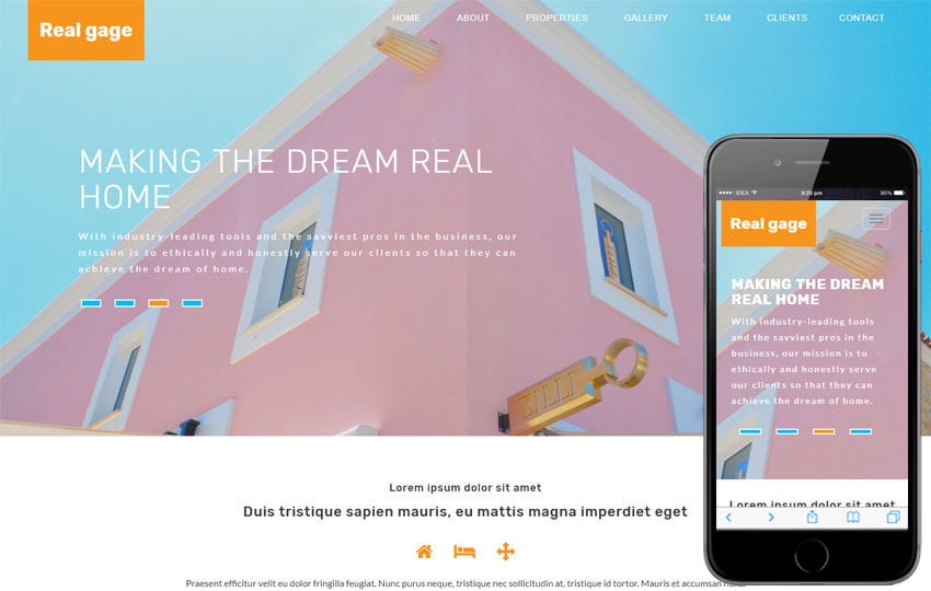 Real Gage Real Estate Category Bootstrap Responsive Web Template Mobile website template Free