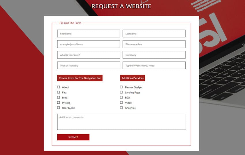 Request a Website Flat Responsive Widget Template Mobile website template Free