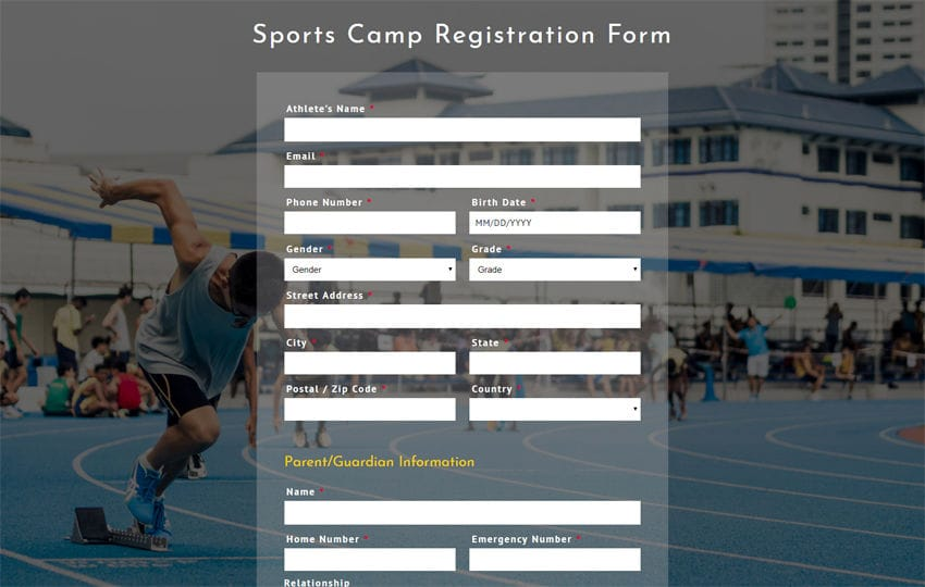Sports Camp Registration Form Responsive Widget Template Mobile website template Free