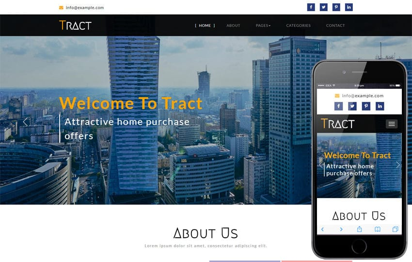 Tract a Real Estate Category Bootstrap Responsive Web Template Mobile website template Free
