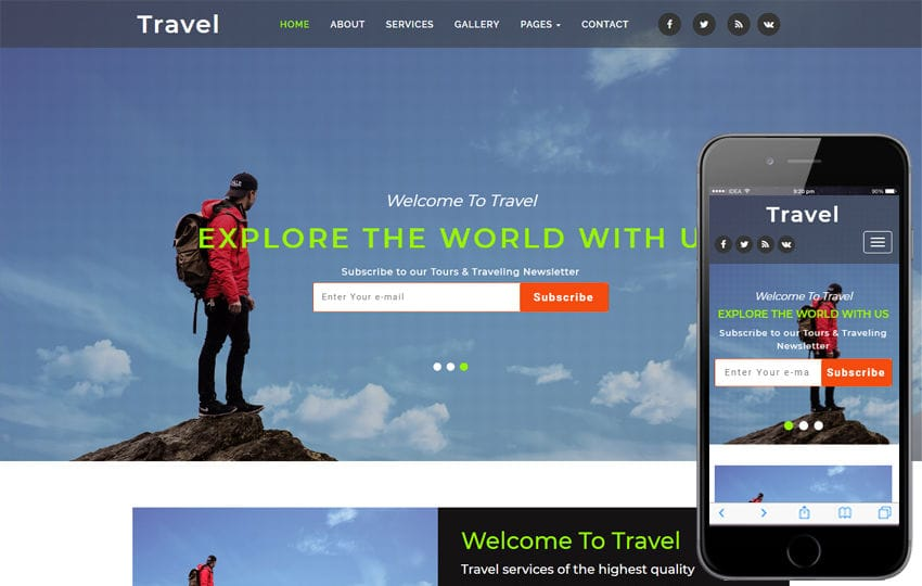 Travel Travel Agency Category Bootstrap Responsive Web Template Mobile website template Free
