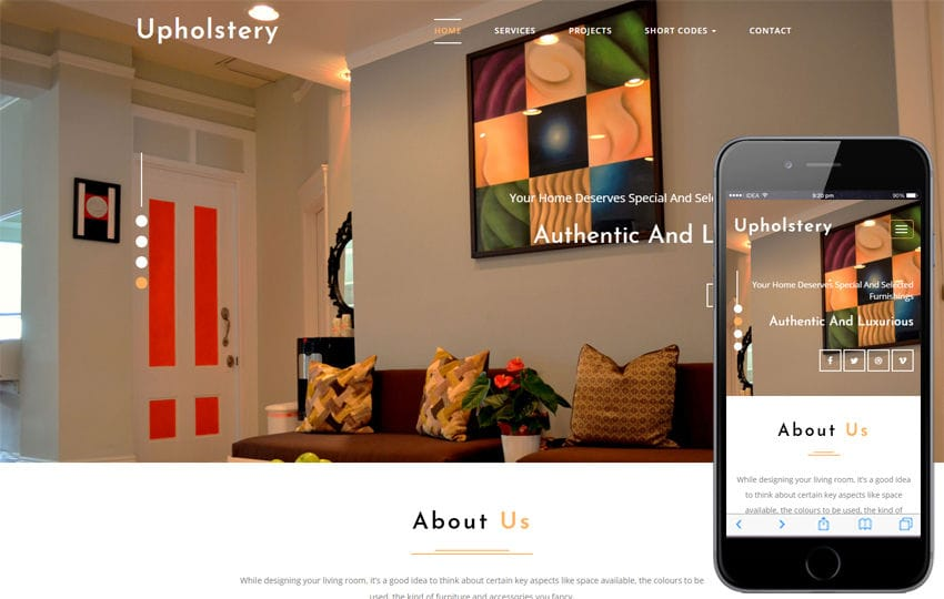 Upholstery Interior Category Bootstrap Responsive Web Template Mobile website template Free