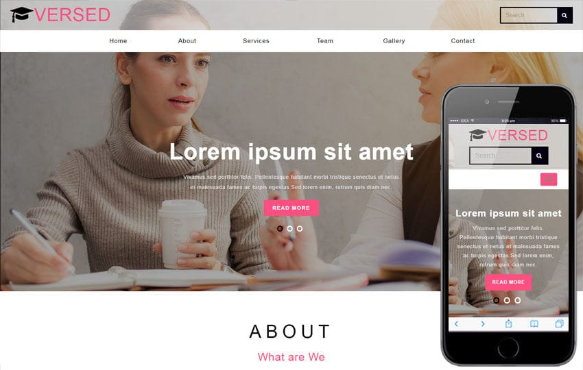 Versed Education Category Bootstrap Responsive Web Template Mobile website template Free