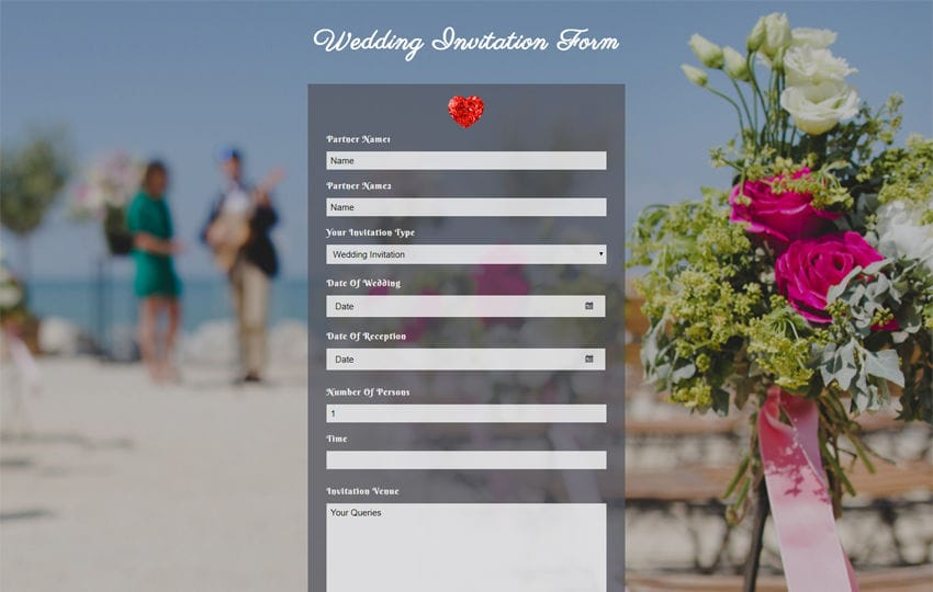 Wedding Invitation Form Flat Responsive Widget Template Mobile website template Free