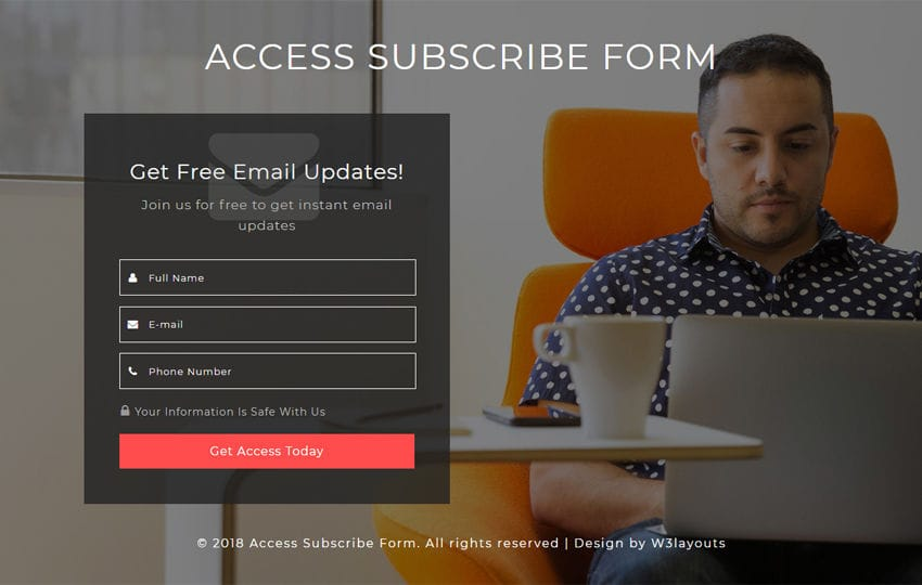 Access Subscribe Form Responsive Widget Template Mobile website template Free