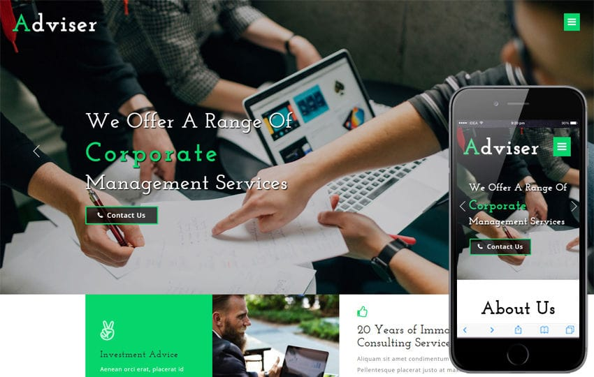 Adviser Corporate Category Bootstrap Responsive Web Template Mobile website template Free