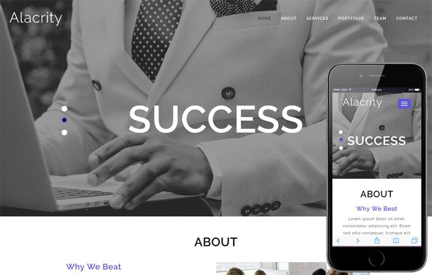 Alacrity Corporate Category Bootstrap Responsive Web Template Mobile website template Free