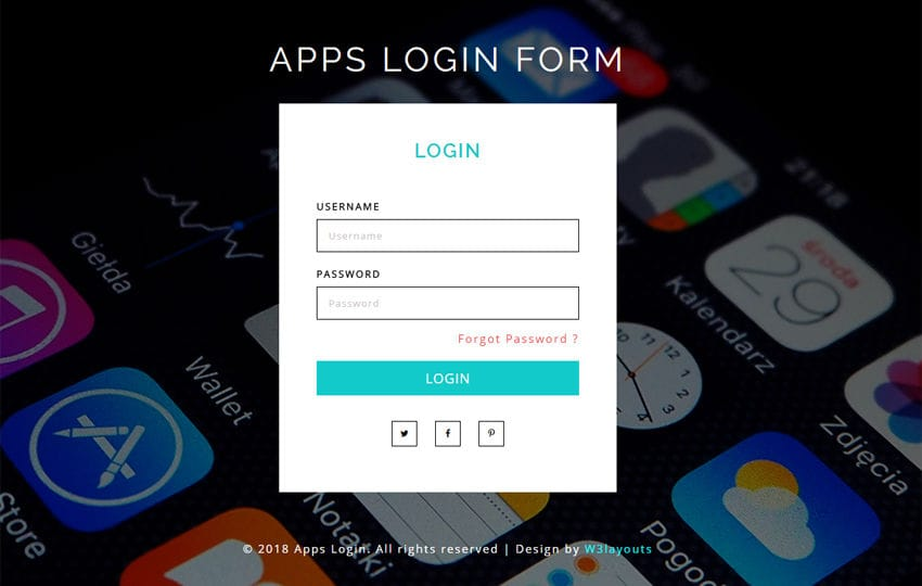 Apps Login Form Flat Responsive Widget Template Mobile website template Free