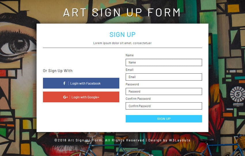 Art Signup Form Flat Responsive Widget Template Mobile website template Free