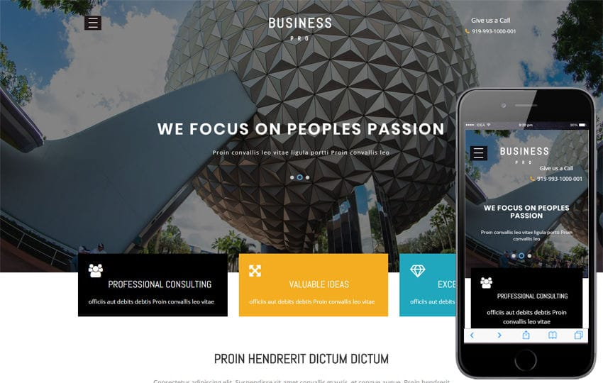 Business Pro Corporate Category Bootstrap Responsive Web Template Mobile website template Free