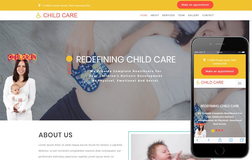 Child Care Medical Category Bootstrap Responsive Web Template Mobile website template Free