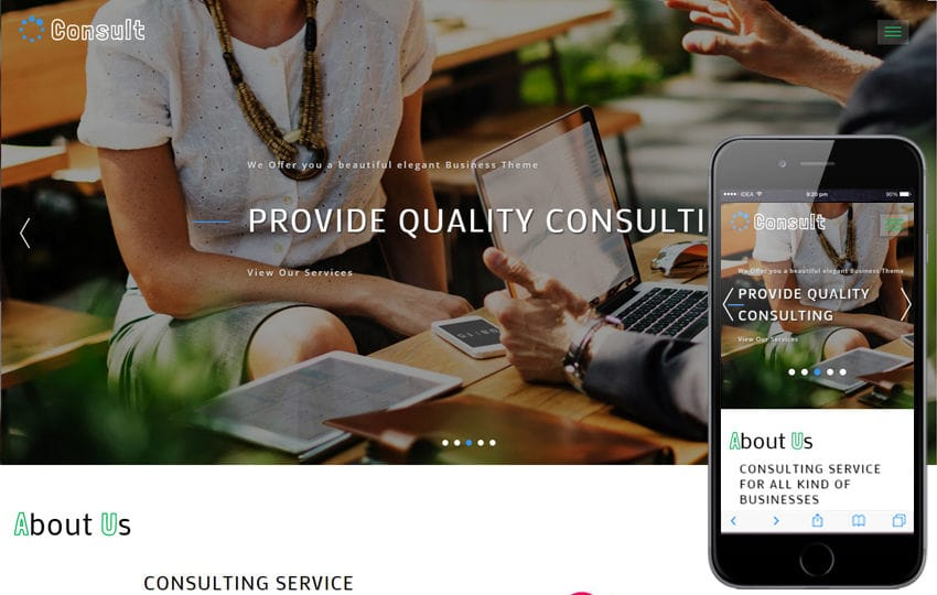 Consult Corporate Category Bootstrap Responsive Web Template Mobile website template Free