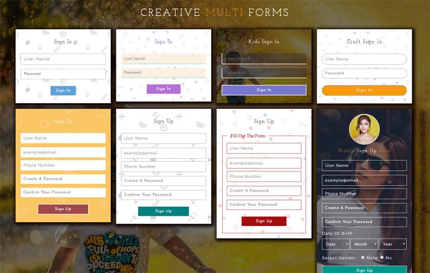 Creative Multi Forms Responsive Widget Template Mobile website template Free