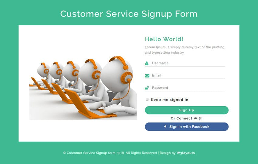 Customer Service Signup Form Responsive Widget Template Mobile website template Free