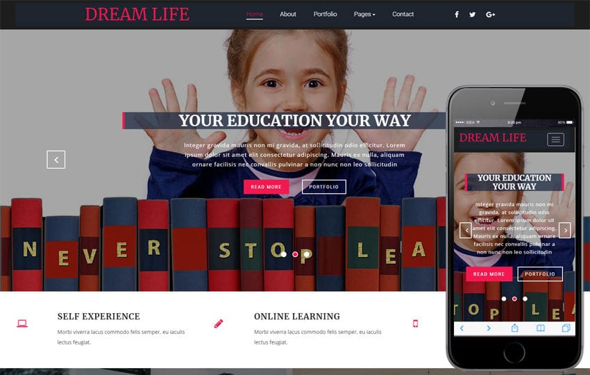 Dream Life Educational Category Bootstrap Responsive Web Template Mobile website template Free