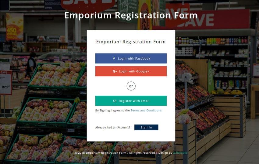 Free responsive html5 css3 website templates emporium registration form responsive widget template mobile website template free yelopaper Images
