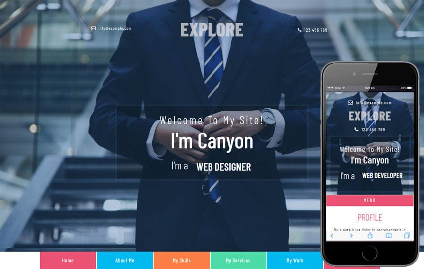 Explore a Personal Category Bootstrap Responsive Web Template Mobile website template Free