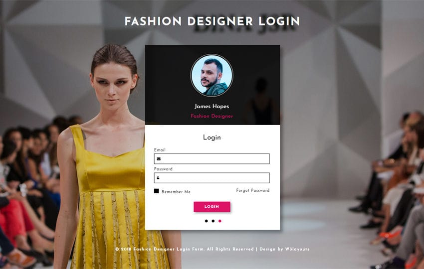 Fashion Designer Login Form Flat Responsive Widget Template Mobile website template Free