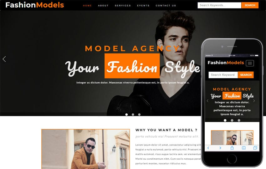 Fashion Models Fashion Category Bootstrap Responsive Web Template Mobile website template Free
