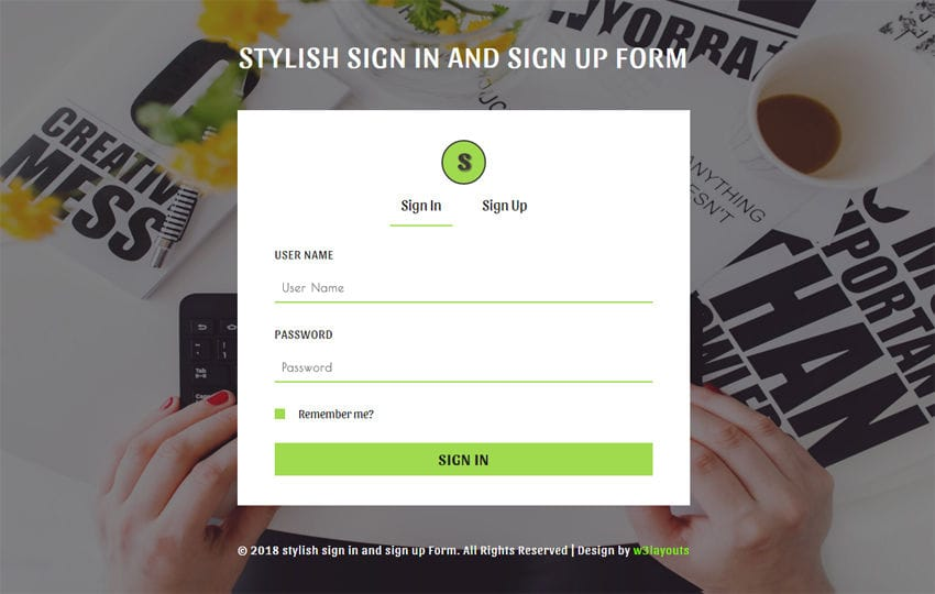 Stylish Sign in and Signup Form Responsive Widget Template Mobile website template Free